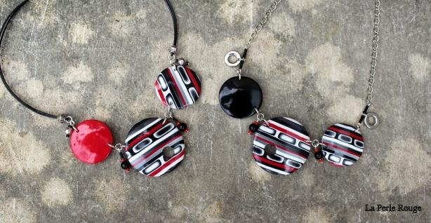 Colliers disques noirs, blancs, et rouge parce que c'est toujours classe !