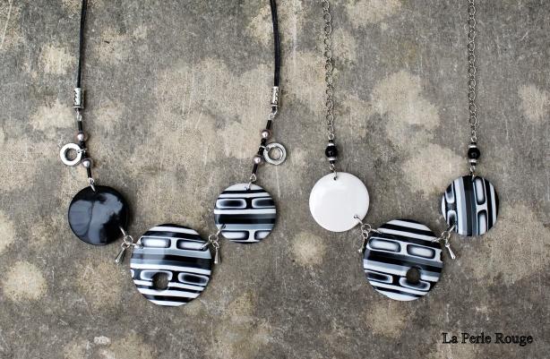Colliers disques noirs et blancs