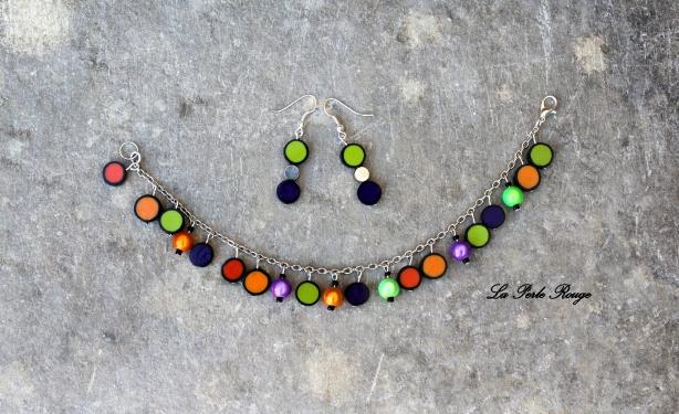 Parure bracelet + boucles (orange, vert et violet)