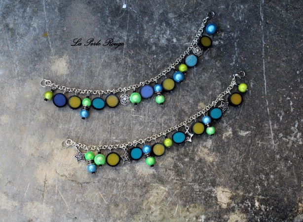 Bracelets assortis, turquoise et jaune