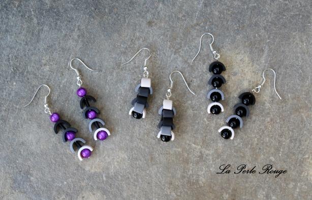 Boucles d'oreilles fimo et perles de verre