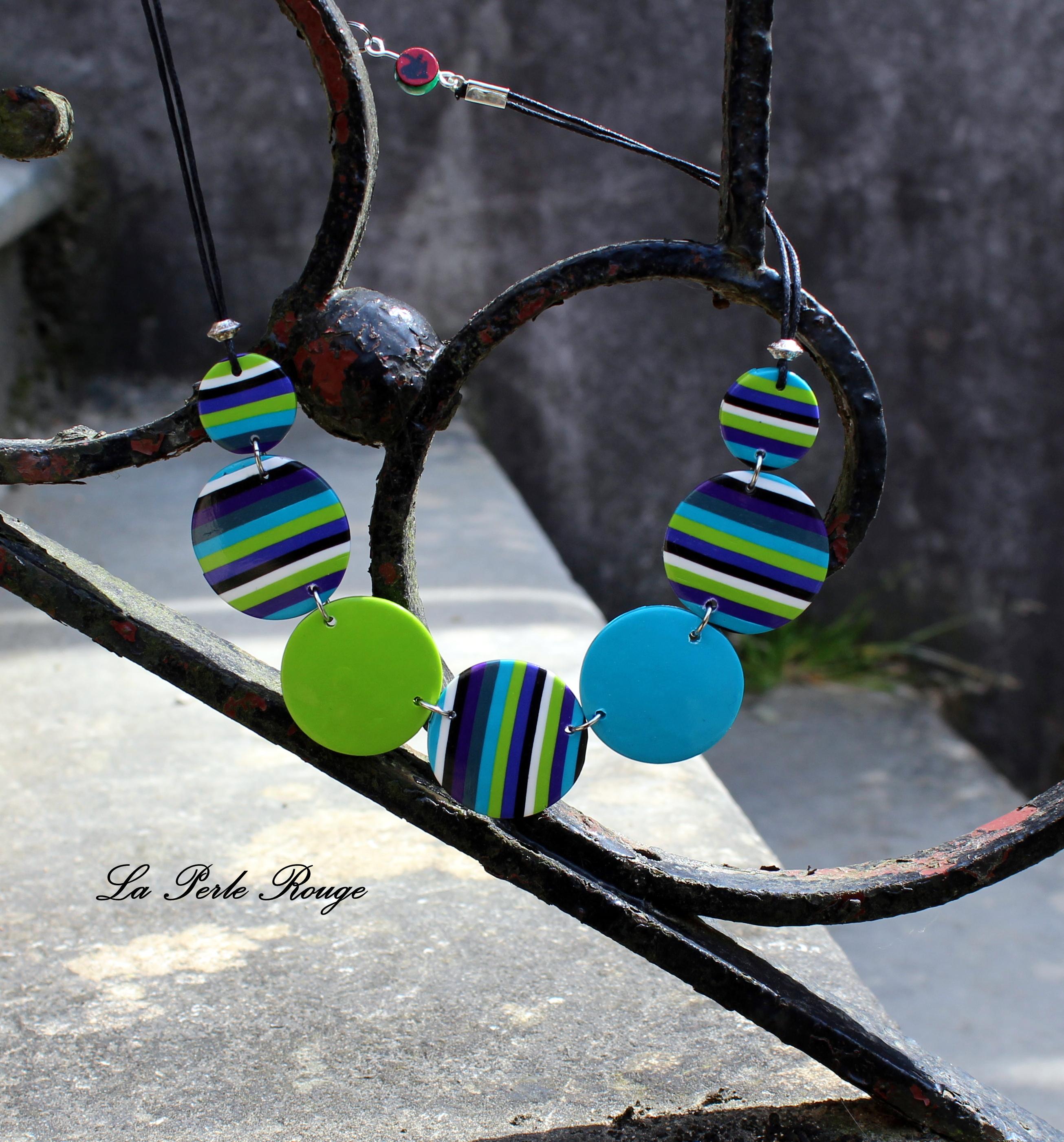 Collier rayures turquoises et vert pomme