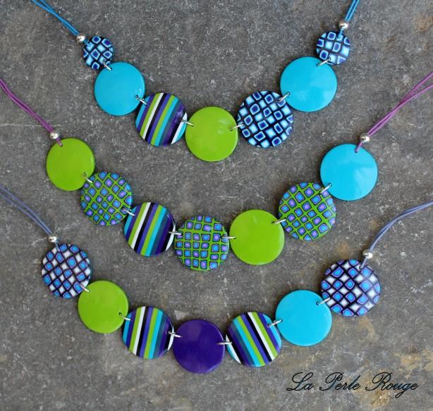 Suite et fin des colliers pastilles en turquoise, violet et vert pomme