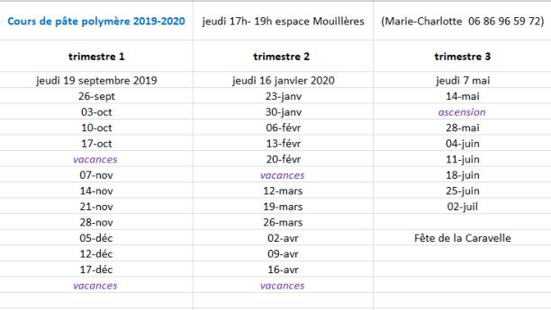 calendrier 2019-20